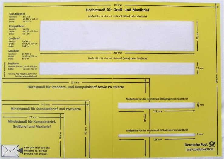 Details Zu Briefschablone Schablone Lehre Messlehre Briefe Briefporto Porto Deutsche Post
